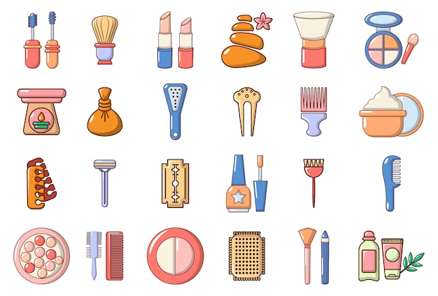 Beauty-element-icon-set. karikatursatz schönheitselement-vektorikonen eingestellt lokalisiert Premium Vektoren