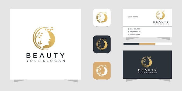 Beauty face logo design inspiration und visitenkarte. Premium Vektoren