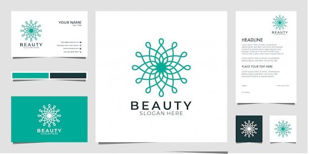 Beauty geometry logo design, kann für beauty-salon, spa, yoga und mode verwendet werden Premium Vektoren