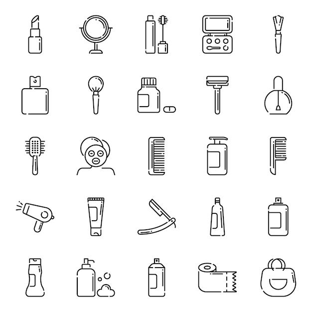 Beauty-icon-pack, mit umriss-icon-stil Premium Vektoren