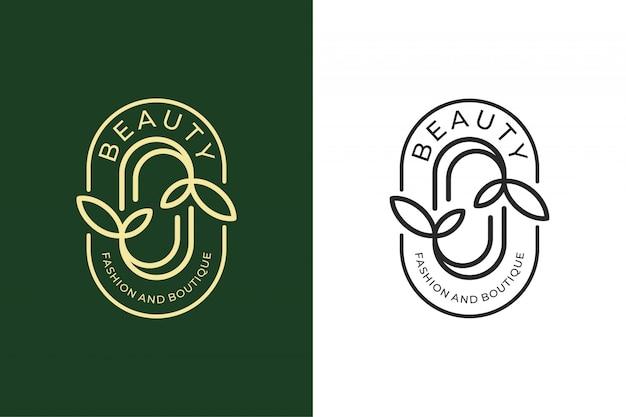 Beauty leaf logo design für mode und boutique logo design Premium Vektoren