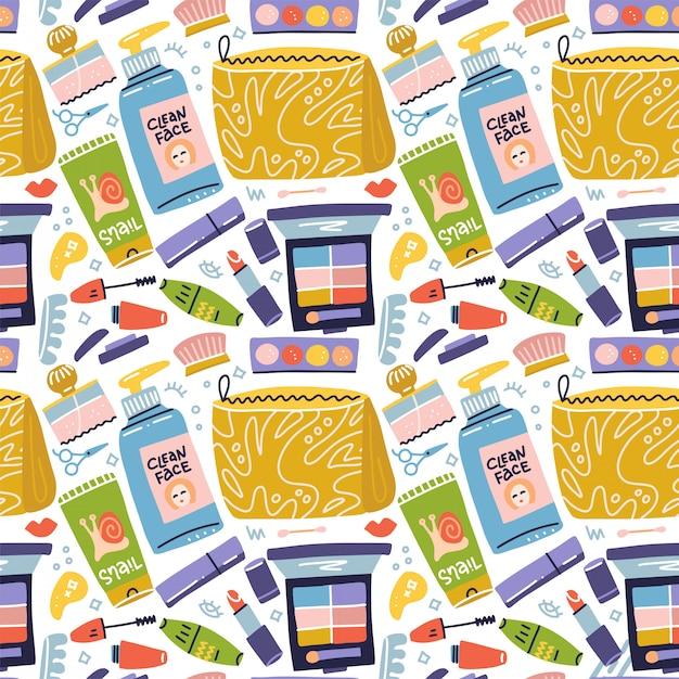 Beauty make-up und kosmetik moderne niedliche trendige bunte nahtlose muster auf weißem hintergrund mit hautpflegekosmetik-ikonen. flache hand gezeichnete ikonenillustration Premium Vektoren