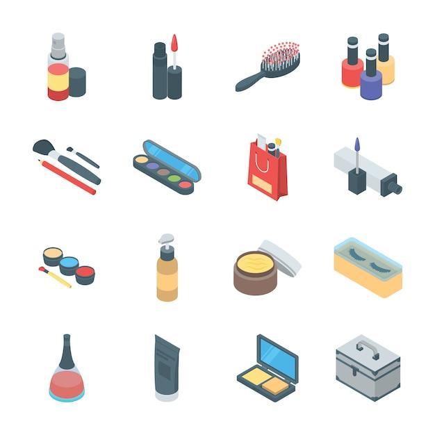 Beauty-produkte und kosmetik-icons Premium Vektoren