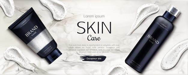 Beauty-produktlinie mit cremefarbenen pinselstrichen auf marmor Kostenlosen Vektoren
