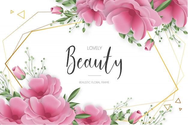 Beauty realistische blumenrahmen Kostenlosen Vektoren