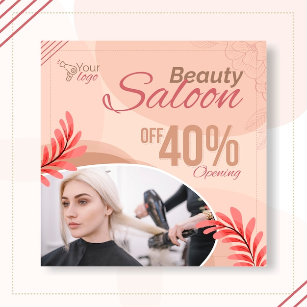 Beauty salon flyer vorlage Premium Vektoren