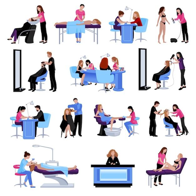 Beauty-salon-menschen legen verschiedene verfahren und dienstleistungen in flachen stil Kostenlosen Vektoren