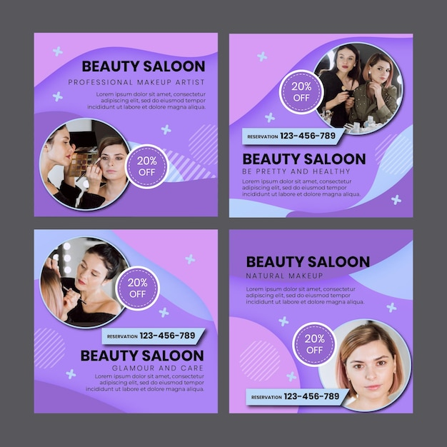 Beauty salon social media beiträge vorlage Kostenlosen Vektoren