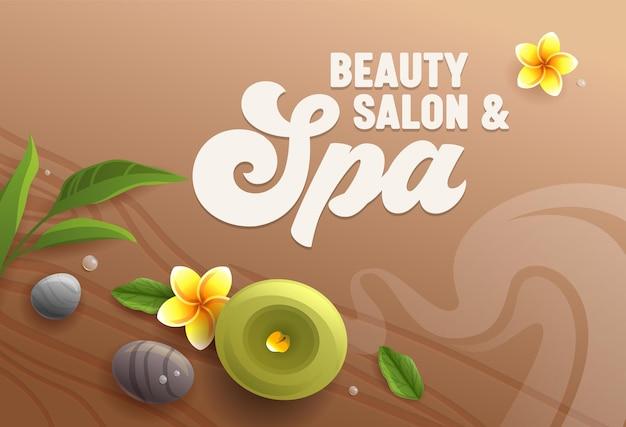 Beauty salon spa attribute wie aromakerze, massage steine, eukalyptusblätter und frangipani plumeria blumen auf holztisch oberfläche hintergrund Premium Vektoren