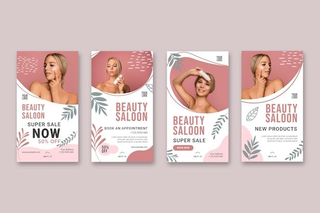 Beauty saloon geschichten konzept Kostenlosen Vektoren