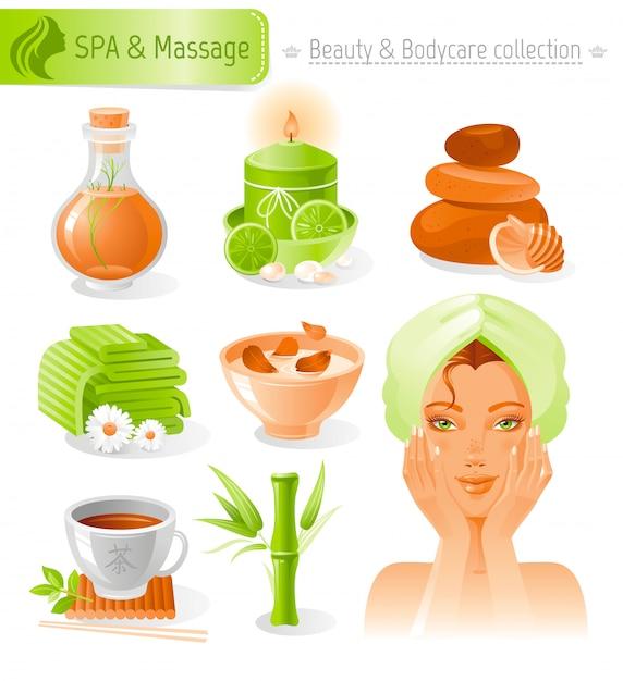 Beauty- und kosmetikset. badekurort und massagesammlung mit schönem mädchen im tuch. Premium Vektoren