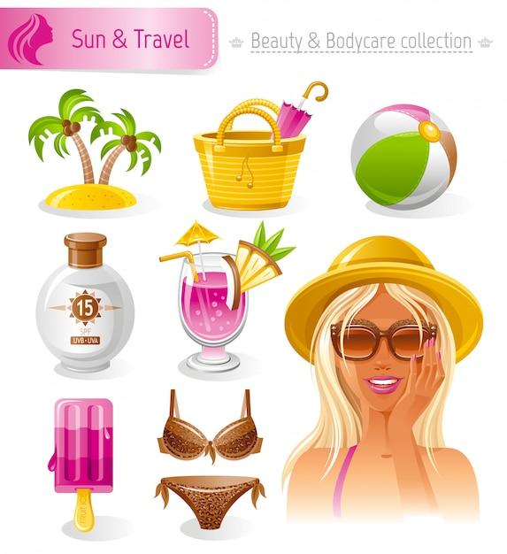 Beauty- und kosmetikset. sommerkollektion mit schönen blonden tan mädchen in strohhut. Premium Vektoren