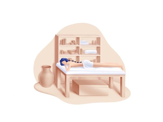 Beauty- und spa-serie: hot stones massage illustration Premium Vektoren