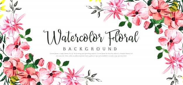 Beautyful aquarell-blumenhintergrund Premium Vektoren