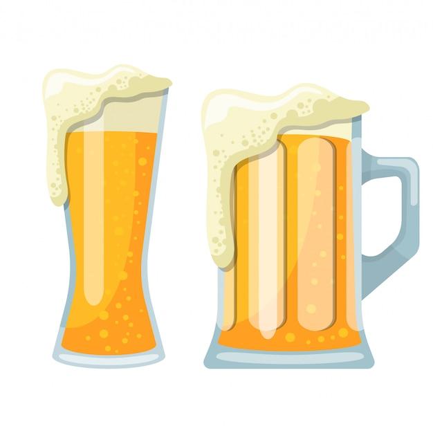 Becher der bierentwurfsillustration lokalisiert auf weißem hintergrund Premium Vektoren