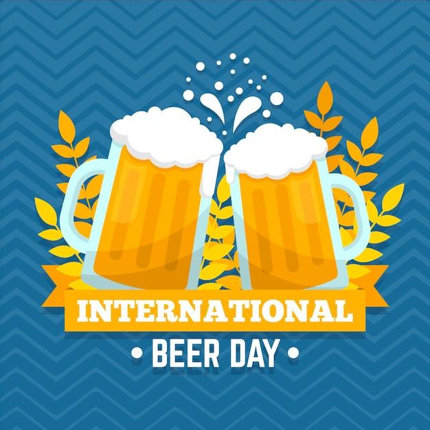 Becher gefüllt mit bier international beer day event Kostenlosen Vektoren