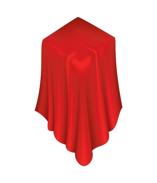 Bedecktes objekt. roter vorhangbezug aus seidenstoff. Premium Vektoren
