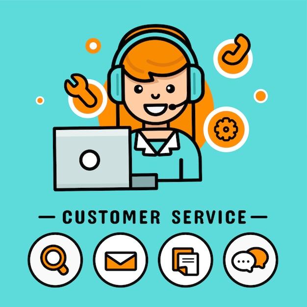 Bedienerfrauen mit kopfhörern. call center Premium Vektoren