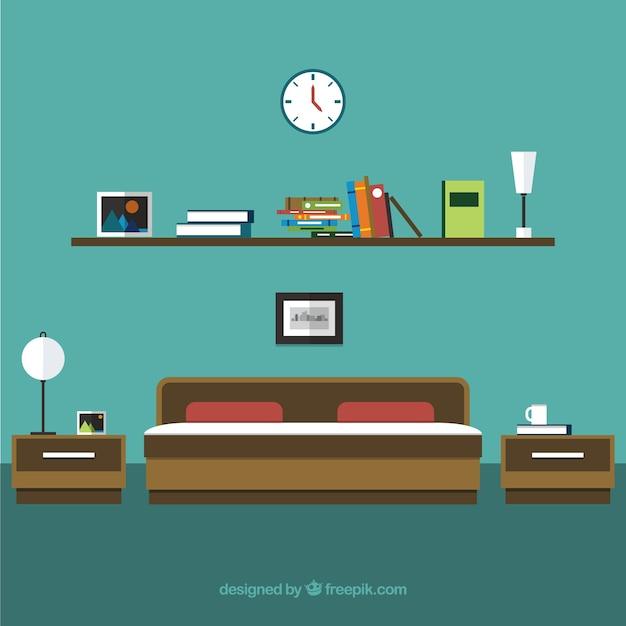 Bedroom interior Kostenlosen Vektoren