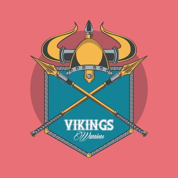 Bedrucktes t-shirt der wikinger-krieger Kostenlosen Vektoren