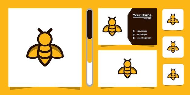Bee line art logo design und visitenkarte Premium Vektoren