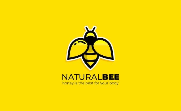 Bee logo design inspiration strichzeichnungen. honigbiene logo vorlage Premium Vektoren