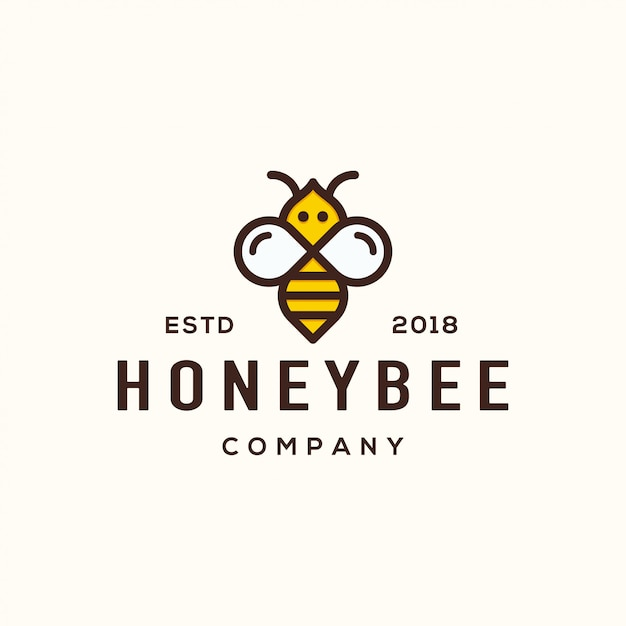 Bee logo design-konzept. Premium Vektoren