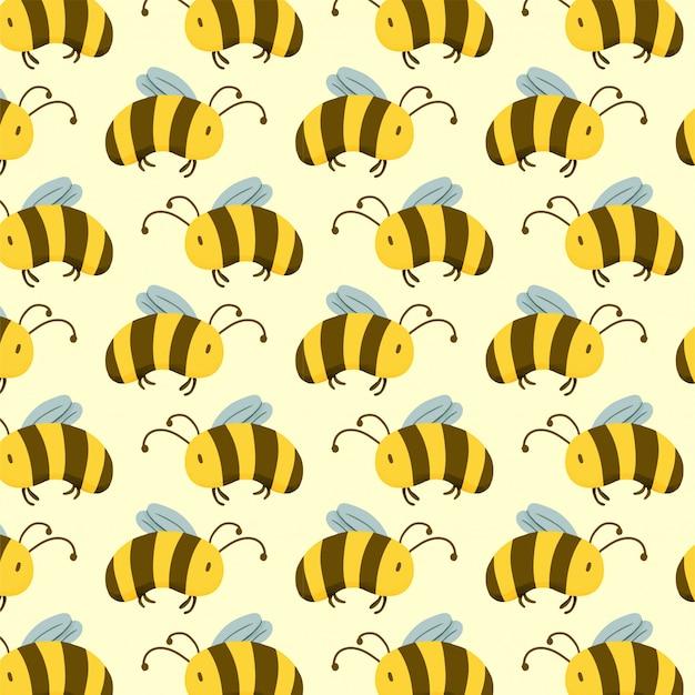 Bee nahtlose farbmuster Premium Vektoren