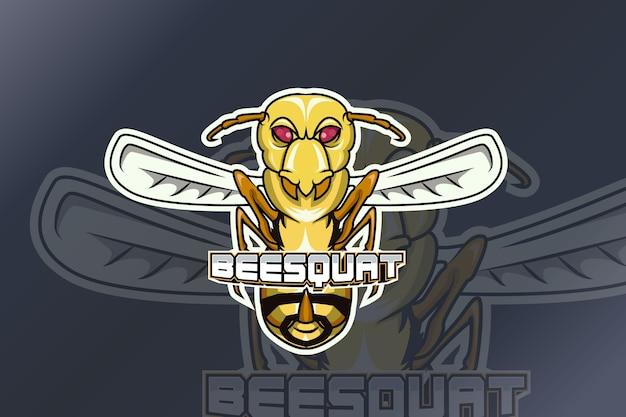 Bee squat e sport logo Premium Vektoren