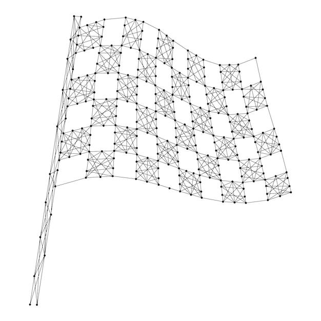 Beenden sie die automobilflagge, die von den abstrakten futuristischen polygonalen schwarzen linien und von den punkten kariert ist. Premium Vektoren