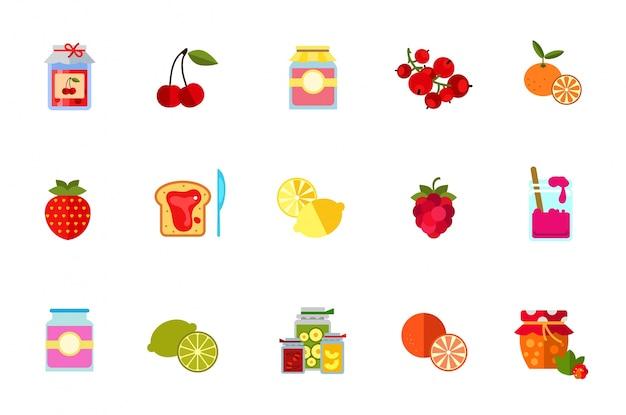 Beeren und früchte icon set Kostenlosen Vektoren