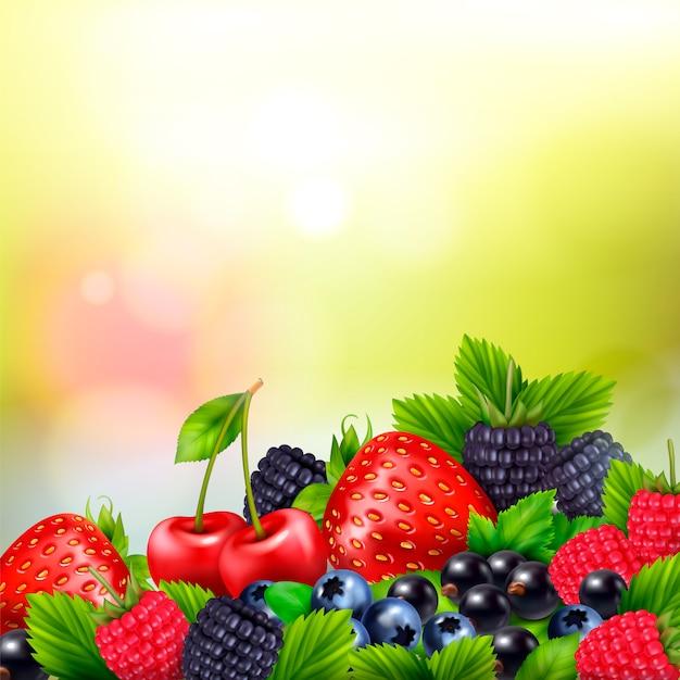 Beerenfrucht realistischer unscharfer hintergrund mit haufen von beeren und reifen blättern mit hellen linseneffekten Kostenlosen Vektoren