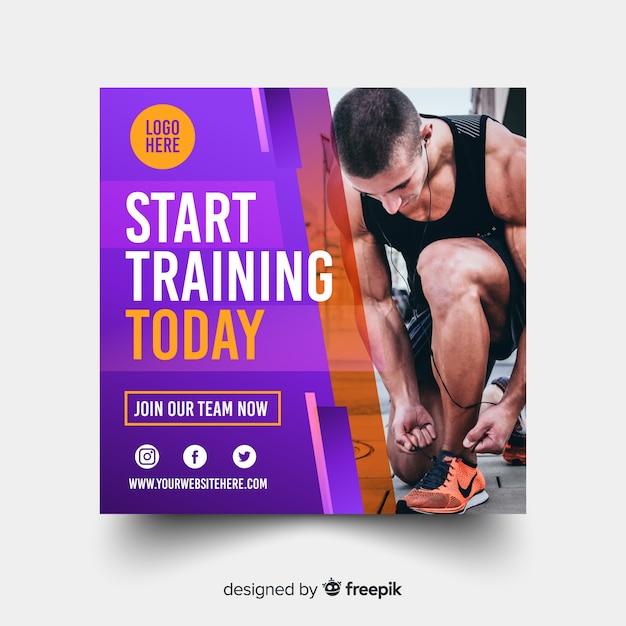 Beginnen sie mit dem training des sportbanners Kostenlosen Vektoren