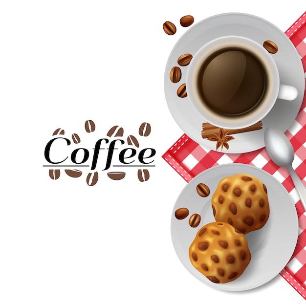 Beginnen sie tag mit tasse schwarzen kaffee mit cookies beste energizer werbung poster Kostenlosen Vektoren