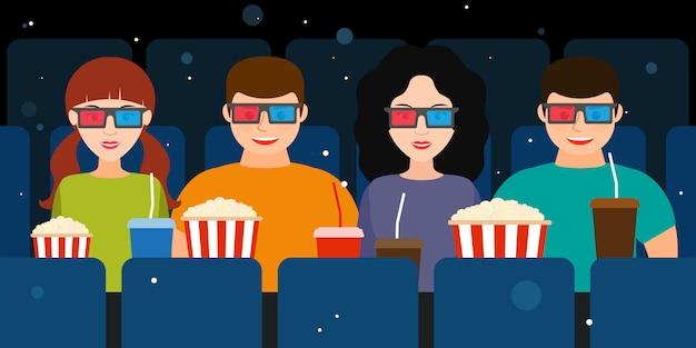 Begleitung zweier paare im kino in 3d-brille Premium Vektoren