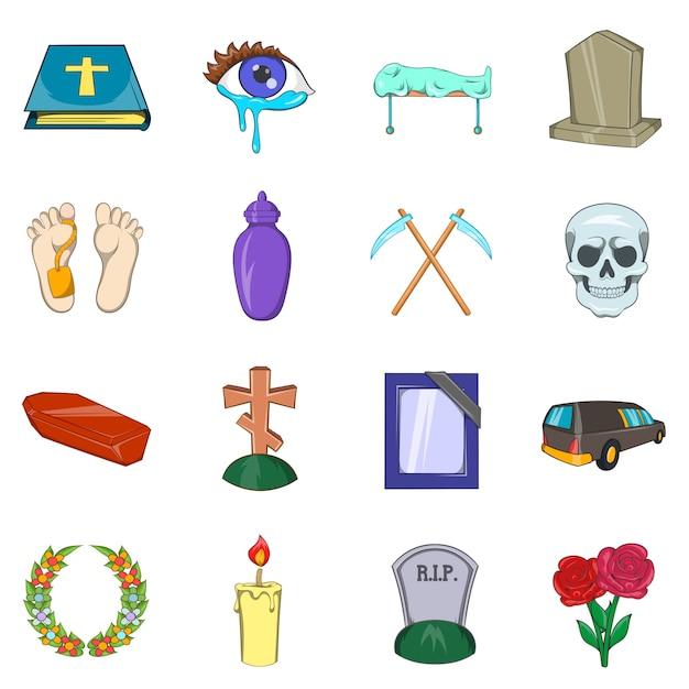 Begräbnis-ikonen eingestellt Premium Vektoren