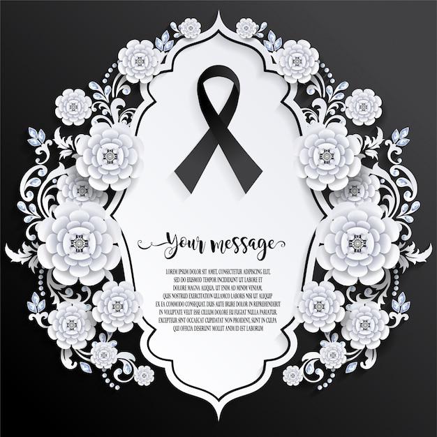 Begräbnis- kartenschablone mit bandzeichen Premium Vektoren
