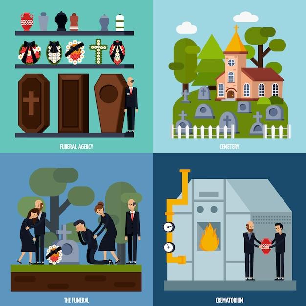 Begräbnisdienst-ikonensatz Kostenlosen Vektoren