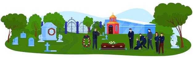 Begräbnisfriedhofszeremonievektorillustration. Premium Vektoren