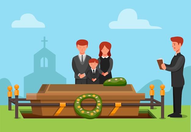 Begräbniszeremonie in der christlichen religion. menschen trauriges familienmitglied starb konzept szene illustration in cartoon vektor Premium Vektoren