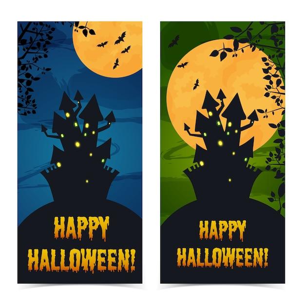 Begrüßung vertikaler halloween-banner mit spukhausfriedhofszweigen und fledermäusen Kostenlosen Vektoren