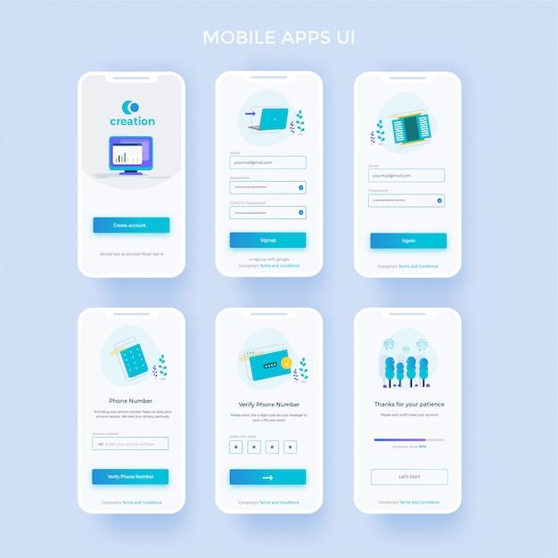 Begrüßungsbildschirm registrieren sie sich und melden sie sich auf dem mobilen bildschirm an Premium Vektoren