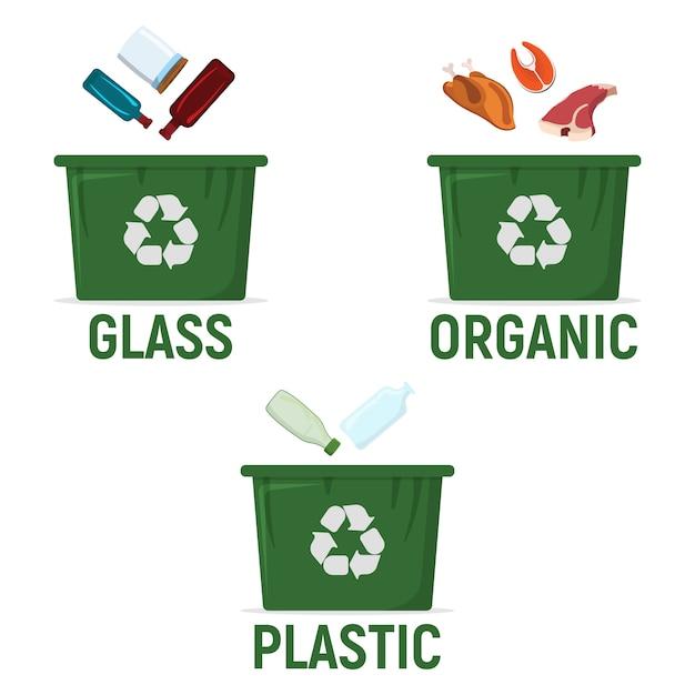 Behälter zum sortieren von recyclingabfällen - kunststoff, bio, kunststoff. symbol für abfall, müllentsorgung und recycling Premium Vektoren