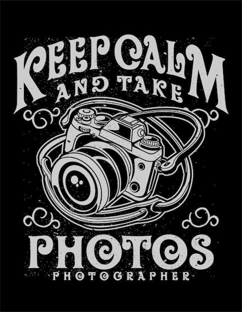 Behalten sie ruhe und machen sie fotos Premium Vektoren