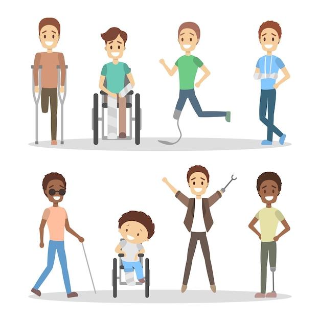 Behinderte eingestellt. männer mit krücken und rollstuhl. Premium Vektoren