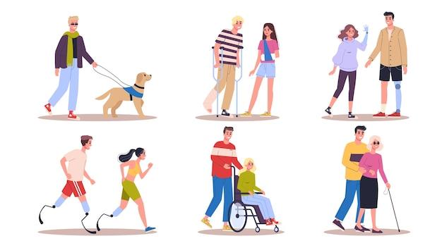 Behinderte eingestellt. männer und frauen mit krücken Premium Vektoren