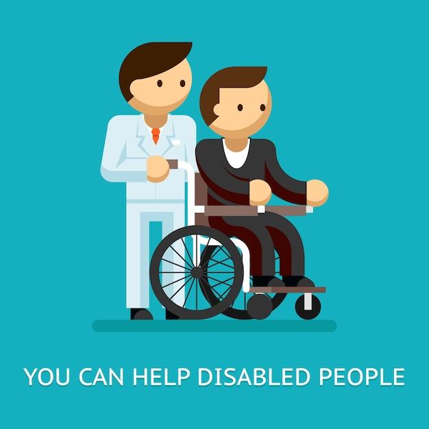 Behinderte helfen konzept. medizin und pflege und rollstuhl. Kostenlosen Vektoren