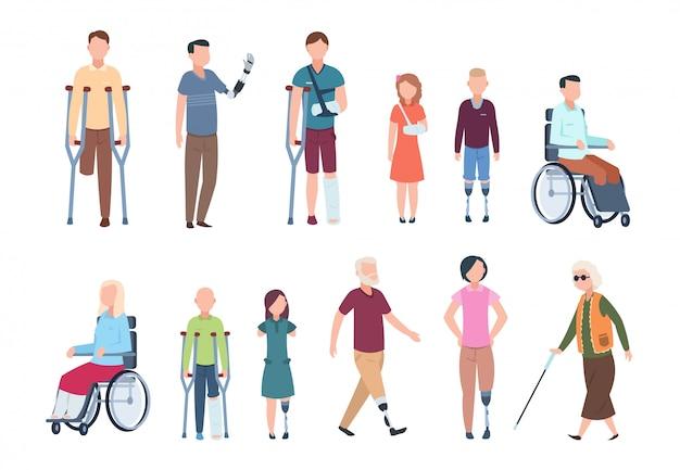 Behinderte menschen. diverse verletzte bei rollstuhlfahrern, älteren menschen, erwachsenen und kindern. behinderter zeichensatz Premium Vektoren