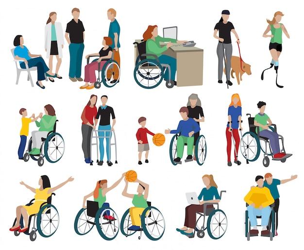 Behinderte menschen icons set Kostenlosen Vektoren