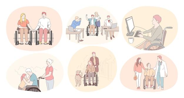 Behinderte menschen im rollstuhl leben einen glücklichen aktiven lebensstil Premium Vektoren